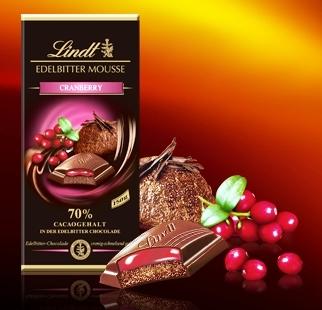 Lindt XXL Creation töltött 70% étcsokoládé - Vörösáfonya 150gr