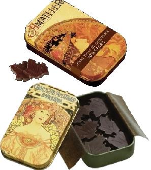 Amatller Mucha csokoládé levelek - étcsokoládé 30gr