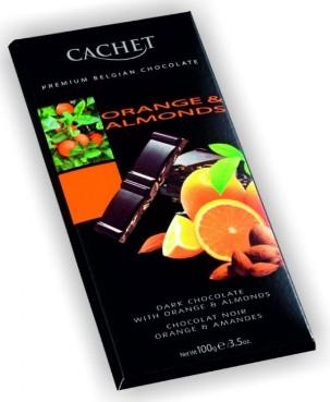 Cachet belga narancsos-mandulás étcsokoládé 100gr