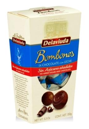 Delaviuda cukormentes tejcsokoládé bonbon édesítőszerrel 150gr