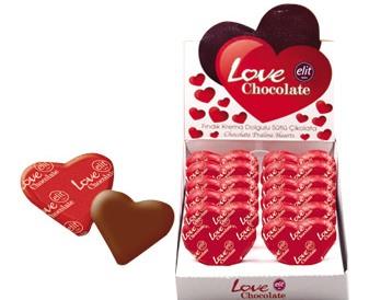Elit Love szív mogyorókrémes csokoládé 21gr