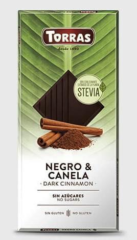 Torras spanyol PALEO cukor-tej-gluténmentes XL fahéjas étcsokoládé édesítőszerrel 125gr