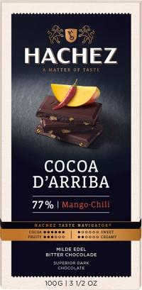 Hachez prémium étcsokoládé - 77% dark étcsokoládé mangó és chili 100gr