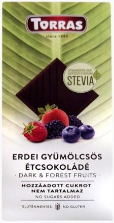 Torras spanyol PALEO cukor és gluténmentes XL erdei gyümölcsös étcsokoládé édesítőszerrel 125gr