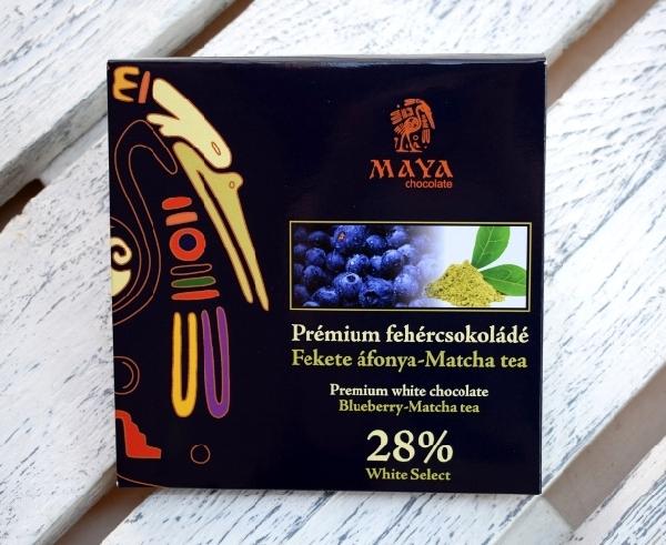 Maya Chocolate Prémium Maya ősi csokoládésorozat - Fehércsokoládé Matcha zöld teával és kékáfonyával 100gr