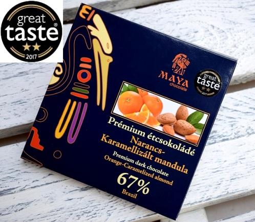 Maya Chocolate Prémium Maya ősi csokoládésorozat - Brazil 67% étcsokoládé narancsolajjal és spanyol karamellizált mandulával  100gr