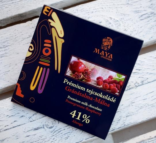 Maya Chocolate Prémium Maya ősi csokoládésorozat - Alunga 41% Q-fermentált gránátalmás tejcsokoládé roppanós málnával gazdagítva 100gr
