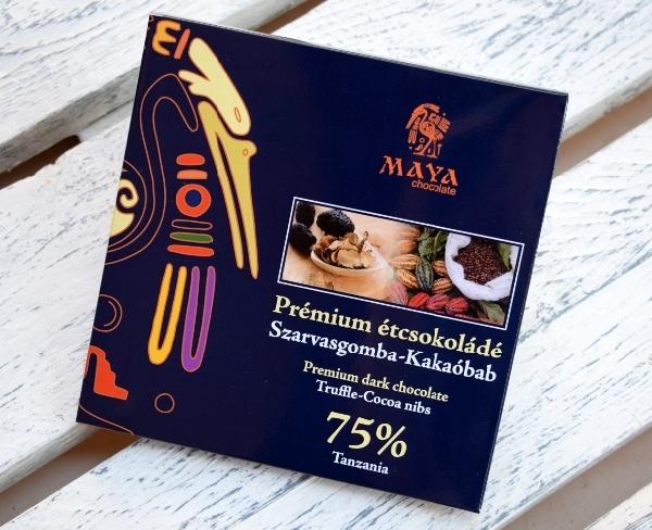 Maya Chocolate Prémium Maya ősi csokoládésorozat - Tanzania 75% szarvasgombás étcsokoládé kakaóbab darabokkal dúsítva 100gr