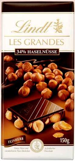 Lindt Les Grandes XXL egészmogyorós étcsokoládé 150gr