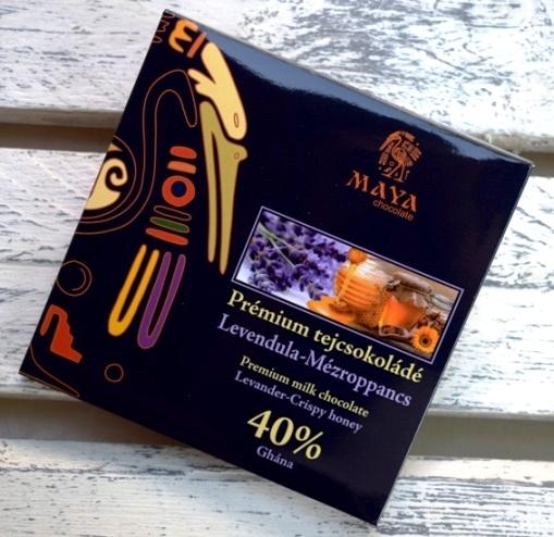 Maya Chocolate Prémium Maya ősi csokoládésorozat - Ghána 40% tejcsokoládé levendulával és mézroppancsokkal 100gr