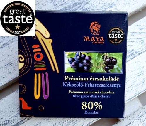 Maya Chocolate Prémium Maya ősi csokoládésorozat - Kumabo 80% étcsokoládé kékszőlővel és feketecseresznyével 100gr