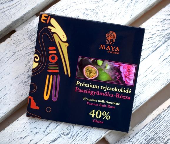 Maya Chocolate Prémium Maya ősi csokoládésorozat - Ghána 40% tejcsokoládé passiógyümölcs és rózsa  100gr