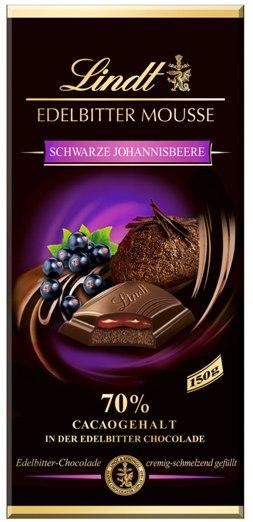 Lindt XXL Creation töltött 70% étcsokoládé - Feketeribizlikrémes mousse étcsokoládé 150gr