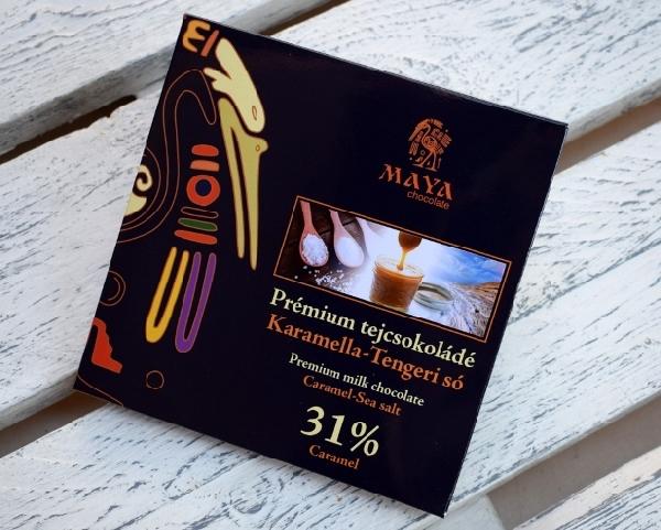 Maya Chocolate Prémium Maya ősi csokoládésorozat - Caramel 31% tejcsokoládé karamellával és Maldon sóval 100gr