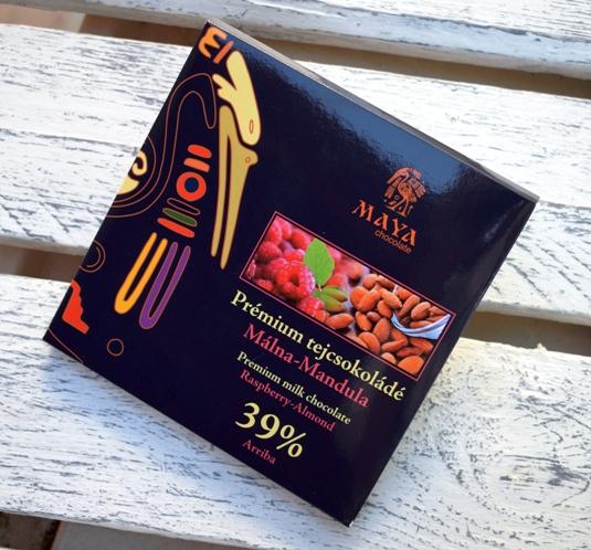 Maya Chocolate Prémium Ősi csokoládésorozat - Arriba 39% tejcsokoládé málnával és mandulával 100gr