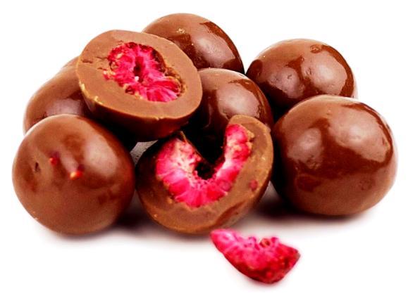 Kimért liofilizált gyümölcsök csokoládéban - Egész málna tejcsokoládéban 100gr