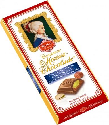 Mozart Reber Constanze alpesi tejcsokoládé pisztácia marcipánnal és nugáttal rétegelve 100gr