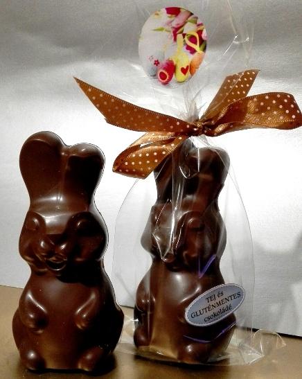 Maya Chocolate kézműves húsvéti tejmentes és gluténmentes figura - Mosolygós álló nyuszi 70-80 gr