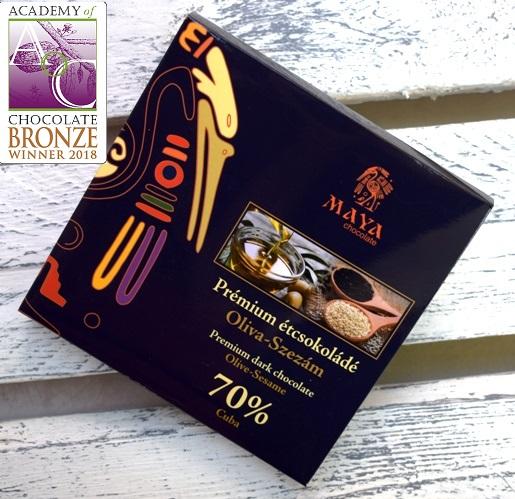 Maya Chocolate Prémium Maya ősi csokoládésorozat - Cuba 70% étcsokoládé olivával és szezámmaggal 100gr