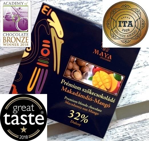 Maya Chocolate Prémium Ősi csokoládésorozat - Dulcey szőkecsokoládé mangóval és makadámdióval 100gr