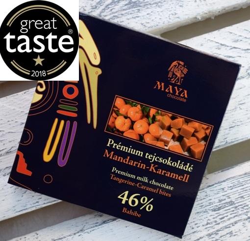 Maya Chocolate Prémium Ősi csokoládésorozat - 46% Bahibe sötét tejcsokoládé mandarinnal és karamellával 100gr