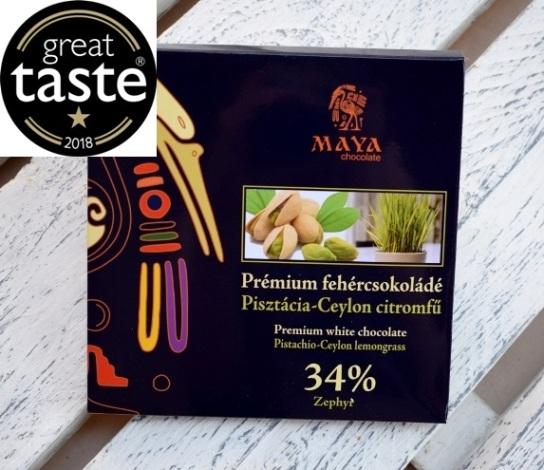 Maya Chocolate Prémium Maya ősi csokoládésorozat - Zephyr 34% fehércsokoládé Ceyloni citromfűvel és karamellizált pisztáciával 100gr