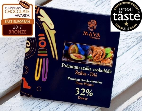 Maya Chocolate Prémium Ősi csokoládésorozat - Dulcey szőke Diós-szilvás-fahéjas pite 100gr