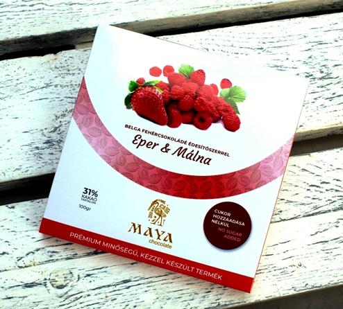 Maya Chocolate CUKORMENTES csokoládé - Eper és Málna belga fehércsokoládé 100gr