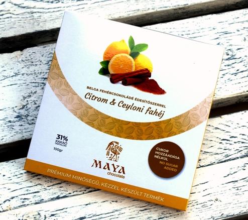 Maya Chocolate CUKORMENTES csokoládé - Citrom és Ceyloni fahéj belga fehércsokoládé 100gr