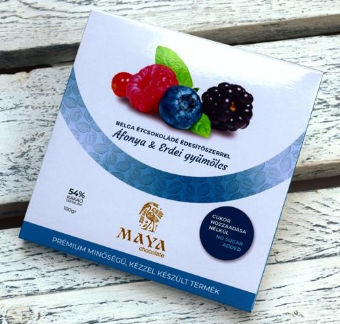 Maya Chocolate CUKORMENTES csokoládé - Vörösáfonya és Erdei gyümölcs belga étcsokoládé 100gr