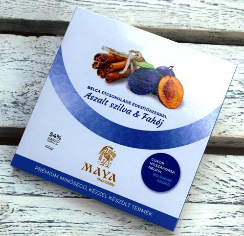 Maya Chocolate CUKORMENTES csokoládé - Aszalt szilva és Fahéj belga étcsokoládé 100gr