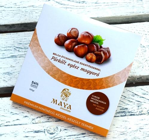 Maya Chocolate CUKORMENTES csokoládé - Pörkölt egész törökmogyoró belga étcsokoládé 100gr