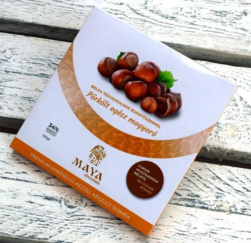 Maya Chocolate CUKORMENTES csokoládé - Pörkölt egész törökmogyoró belga tejcsokoládé 100gr
