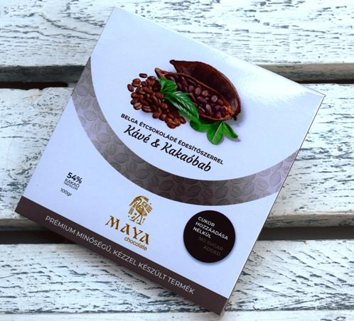 Maya Chocolate CUKORMENTES csokoládé - Kávé és Kakaóbab belga étcsokoládé 100gr