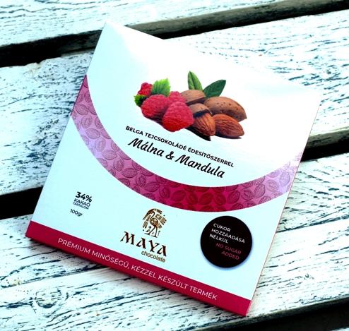 Maya Chocolate CUKORMENTES csokoládé - Málna és Mandula belga tejcsokoládé 100gr