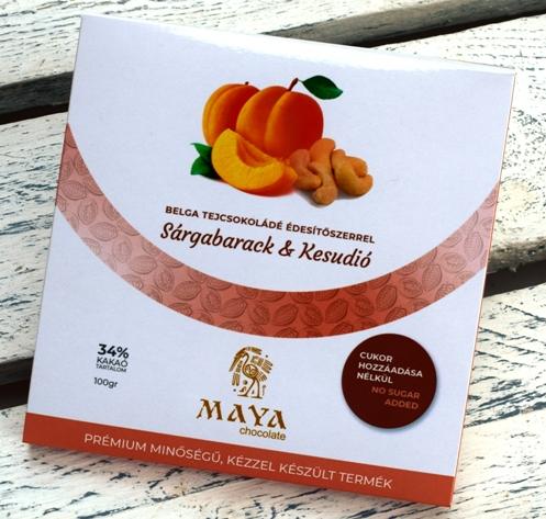 Maya Chocolate CUKORMENTES csokoládé - Sárgabarack és Kesudió belga tejcsokoládé 100gr