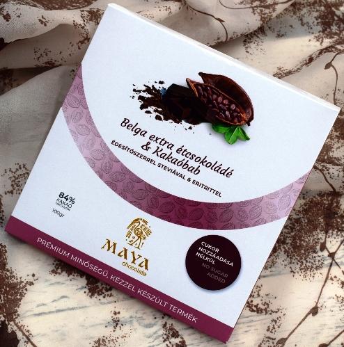 Maya Chocolate CUKORMENTES csokoládé - 84% belga Extra Étcsokoládé Kakaóbabbal dúsítva 100gr