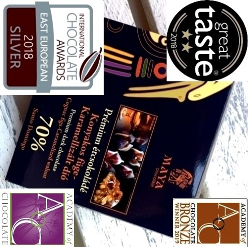 Maya Chocolate Prémium Ősi csokoládésorozat - 70% Santo Domingo étcsokoládé konyakos fügével és karamellizált dióval 100gr