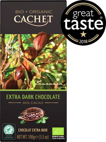Cachet organikus bio belga csokoládécsalád - 85% bio extra étcsokoládé 100gr