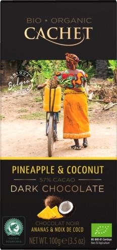 Cachet organikus bio belga csokoládécsalád - Bio étcsokoládé kókusszal és ananásszal 100gr