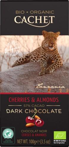 Cachet organikus bio belga csokoládécsalád - Bio étcsokoládé cseresznyével és mandulával 100gr