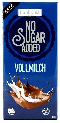 Frankonia cukormentes és gluténmentes csokoládé édesítőszerrel - Natúr tejcsokoládé 80gr