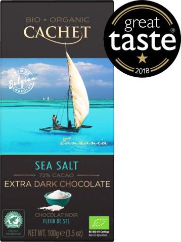 Cachet organikus bio belga csokoládécsalád - Bio étcsokoládé tengeri sóval 100gr