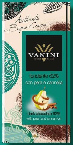 Vanini olasz gluténmentes csokoládécsalád - Körtés, fahéjas 62% étcsokoládé 100gr