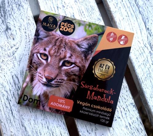 """Maya Chocolate Pécs ZOO csokoládécsalád - DOM - 2019 Év Emlőse Kárpáti hiúz: Sárgabarackos, mandulás tejmentes, gluténmentes """"tej""""csokoládé 100gr"""