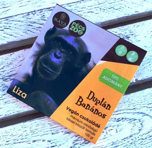 """Maya Chocolate Pécs ZOO csokoládécsalád - LIZA - Duplán banános tejmentes, gluténmentes """"tej""""csokoládé 100gr"""