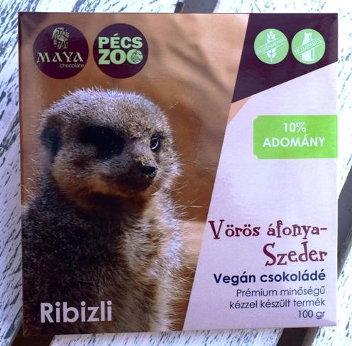 """Maya Chocolate Pécs ZOO csokoládécsalád - RIBIZLI - Vörösáfonyás, szedres tejmentes, gluténmentes """"tej""""csokoládé 100gr"""