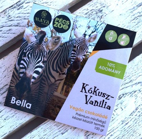 """Maya Chocolate Pécs ZOO csokoládécsalád -  BELLA - Kókuszos, Bourbon vaníliás tejmentes, gluténmentes """"tej""""csokoládé 100gr"""