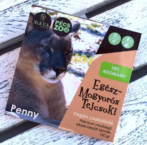 """Maya Chocolate Pécs ZOO csokoládécsalád -  PENNY - Egész törökmogyorós tejmentes, gluténmentes """"tej""""csokoládé 100gr"""