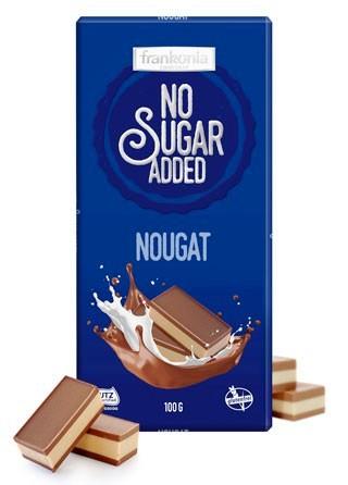 Frankonia cukormentes és gluténmentes csokoládé édesítőszerrel - Mogyorókrémes nugáttal töltött tejcsokoládé 100gr